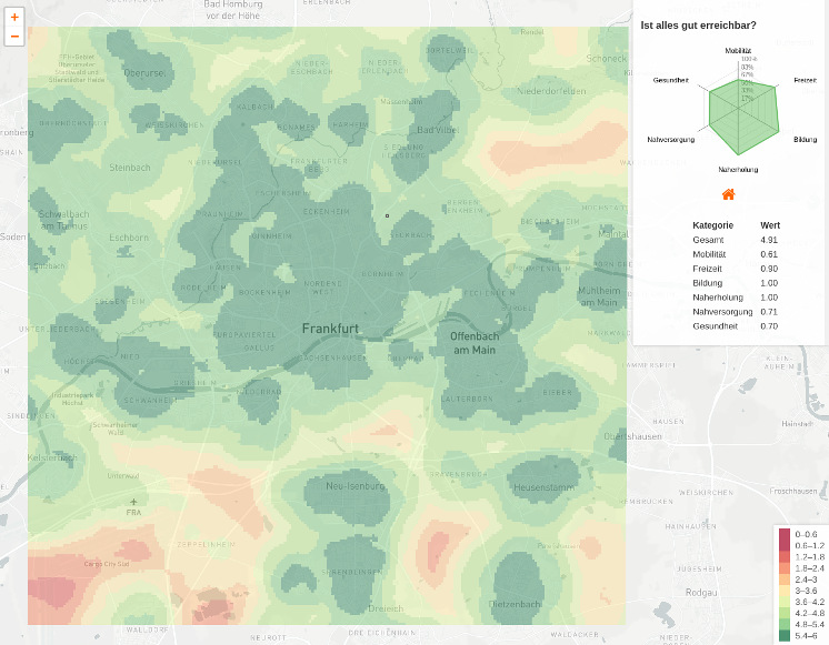 Image of the map, visualizing reachability of Frankfurt am Main, Germany